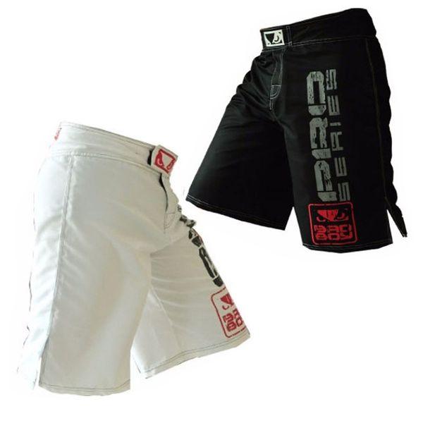 New Promotion Black White Mens Mma Boxing Trunks Muay Thai Fight Shorts Sanda Fight Wear Cheap Mixed Martial Arts Kickboxing