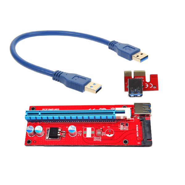 PCIe PCI-E PCI Express Riser Card 1x to 16x USB 3.0 Data Cable SATA to 4pin IDE Molex Power Supply 30cm/60cm for BTC, LTC, ETH