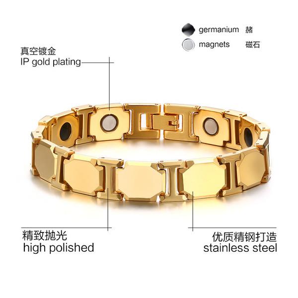 Ordre mixte * Bracelets en acier tungstène pour hommes avec aimant et perles de gernanium aimants bracelet fournisseur d'usine de bijoux 005