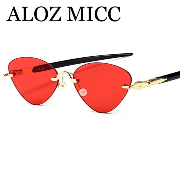 eca659ae11a ALOZ MICC Fashion Women Cat Eye Sunglasses Brand Designer Retro Rimless  Small Sunglasses Female UV400 Eyeglasses A454