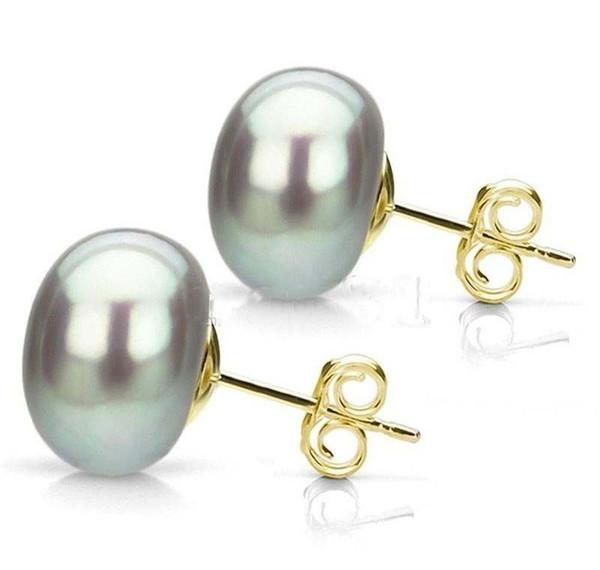 Orecchini placcato in oro 14 kt con perle coltivate naturali Akoya grigio 10-11mm