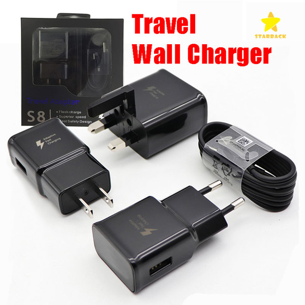top popular Travel Wall Charger Fast Charger 5V 2A US EU UK Plug 1.2M Type C Cable for Samsung Galaxy S8 phone chargers with Retail Package 2021