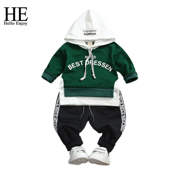 HE Hello Enjoy Boy Sport Suits Children's clothing Spring Autumn Long Sleeve Letteer Hoodie Sweat+Trousers Toddler Boys Clothes