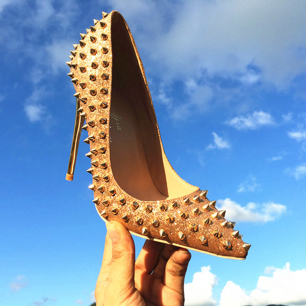 2018 Mode Chaussures Bas Rouge Nouvelle Arrivée Talons Hauts Habillés / Chaussures de soirée Super Stiletto Talons Hauts Rivets Pompes Taille EU