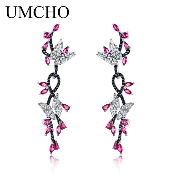 UMCHO 925 Sterling Silver Butterfly Natural Gemstone Black Spinel Ruby Drop Earrings Romantic Earrings For Women Fine JewelryY1882701