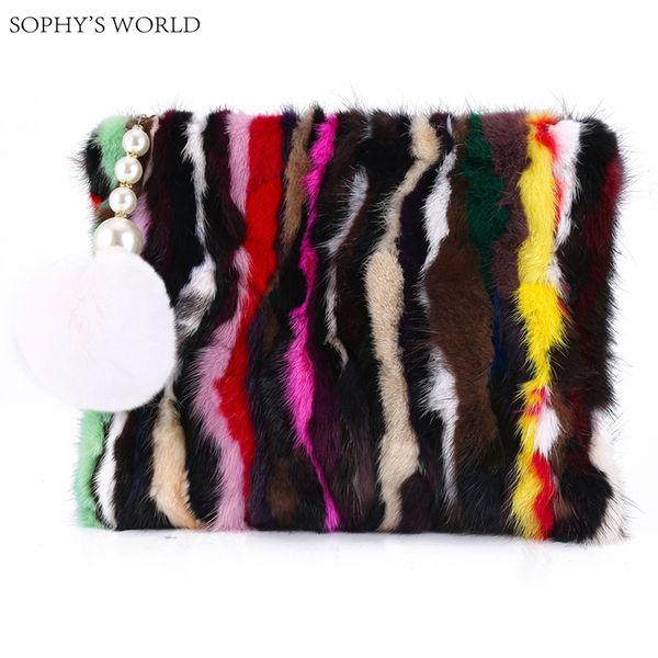 Colorful Rainbow Real Fur Women's Leather Handbag Tassen Ball Day Clutch Purse Vintage Envelope Bag Small Clutch Evening Bag