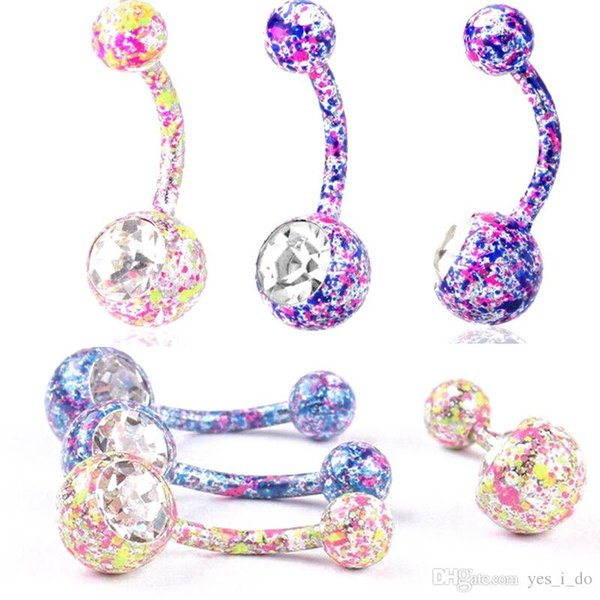 Christmas Gift Crystal Disco Ball&316L Surgical Stainless Steel Belly Button Navel Ring Body Piercing Jewelry