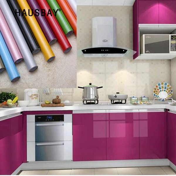 3M / 5M / 10M Pintura moderna de vinilo impermeable película decorativa autoadhesiva papel tapiz brillante rollo muebles de cocina pegatinas pvc 1303