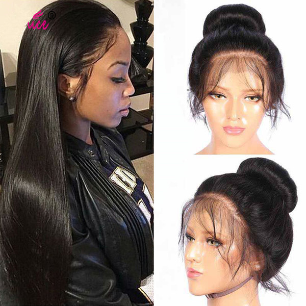 100% unprocessed virgin remy shine human hair long natural color silky straight full lace wig most popular for women