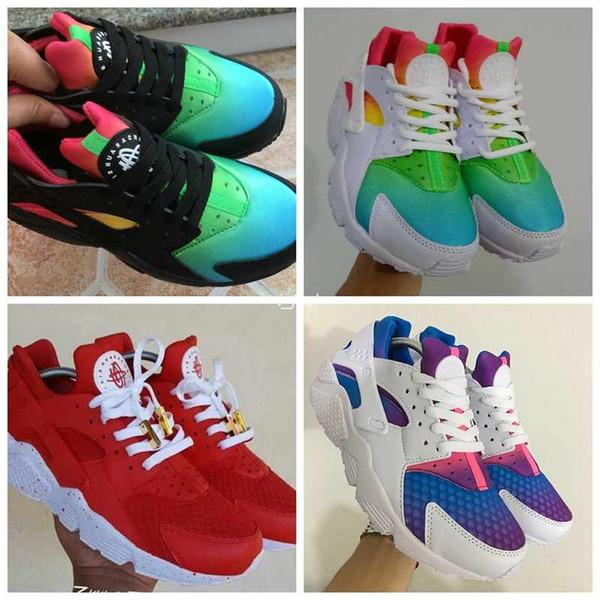 Erkekler Kadınlar Için 2018 Hava Huarache Ultra Koşu Ayakkabıları, Erkek Hurache Gökkuşağı Renkli Lacivert Tan Denim Huaraches Spor Huraches Sneakers