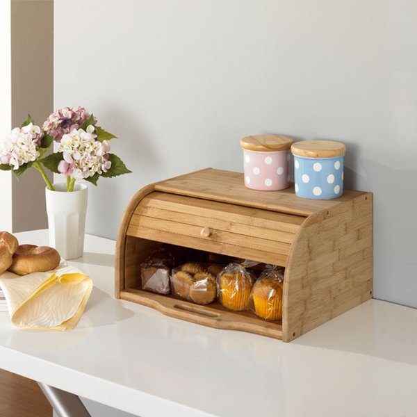 Creative Bamboo Bread Dust-Proof Case Europe Style Eco Kitchen Storage Holders Natural Wood Table Organizer Storage Box