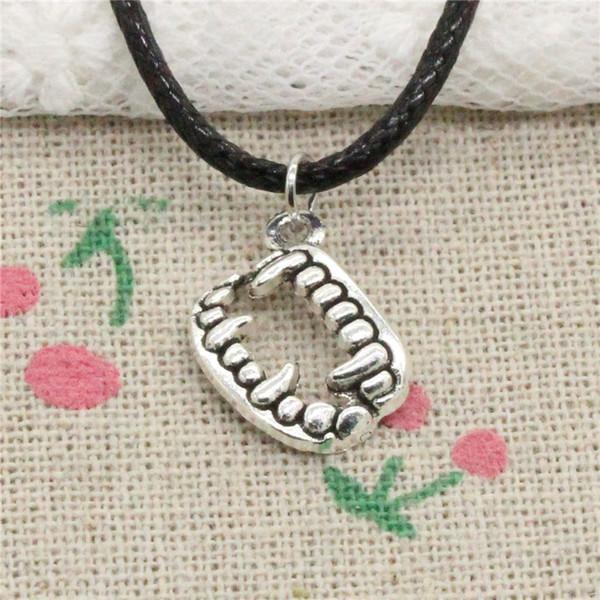 Creative Fashion Antique Silver Pendant vampire dracula fangs teeth halloween 17mm Necklace Choker Charm Black Leather Cord Handmade Jewlery