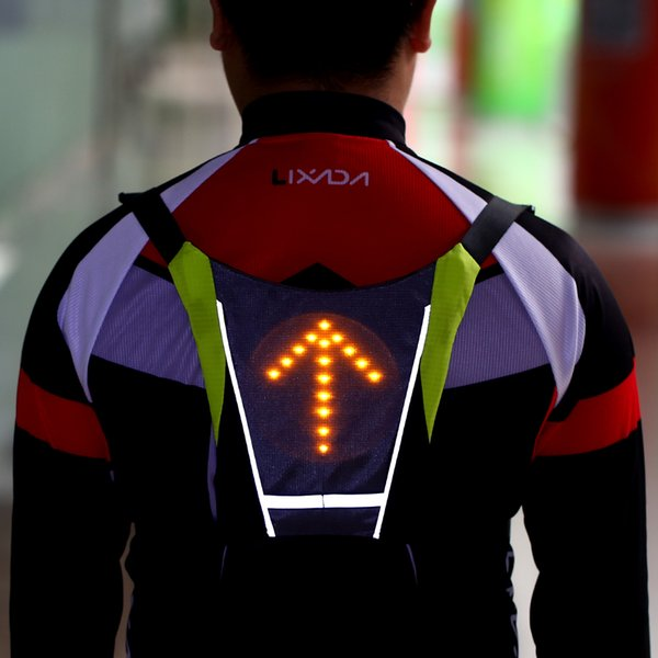 Lixada USB Gilet Réfléchissant Sac À Dos avec LED Clignotant Télécommande Sport En Plein Air Sac De Sécurité Matériel pour la Marche Jogging