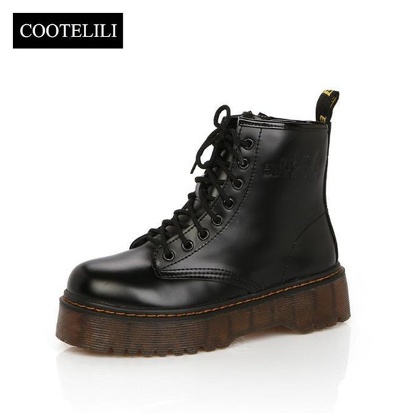 51c4d577ee68 COOTELILI Botas Women Motorcycle Ankle Boots Wedges Female Lace Up Platforms  Autumn Winter Leather Oxford Shoes Woman high heels