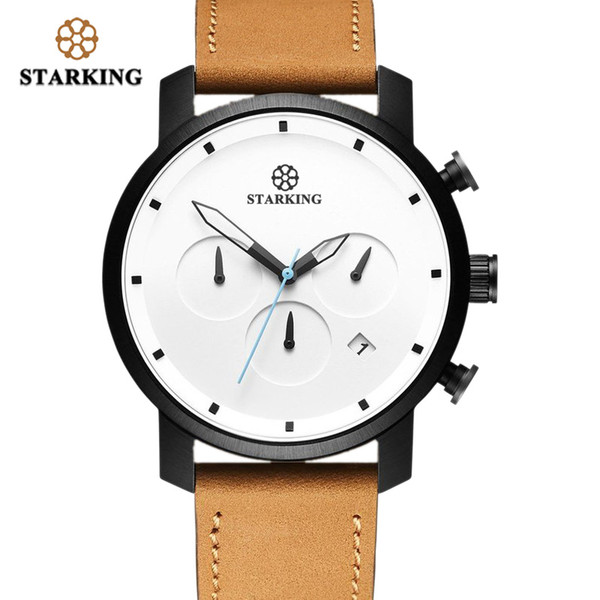 STARKING Top Brand Luxury Mens Chronograph Wrist Watch Brown Leather Watch Men Dialess Style Fashion Minimal Design Watches Male