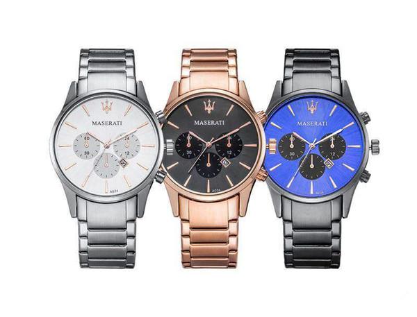 Großhandel Hochwertige Männer Sport Luxusuhr Maserati Großhandel Quarzwerk Stahl Herrenuhren Uhr Geschenk Maserati Uhr Kalender Uhr Von Hkwatch