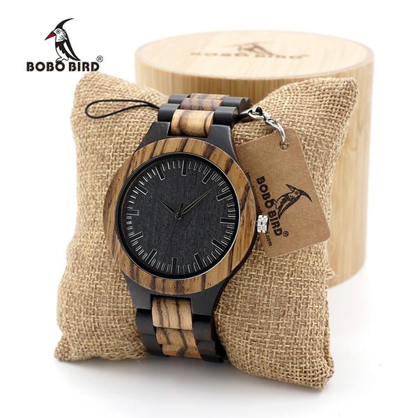 BOBO BIRD Wood Watch Men's Walnut Ebony Wooden Strap Quartz Analog Wristwatch Male erkek kol saati Miyota gift S914