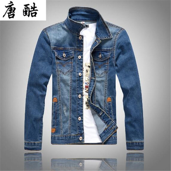 2018 the new Korean style jeans jacket men's slim long sleeves denim jacket fashion classic light blue motorcycle J08
