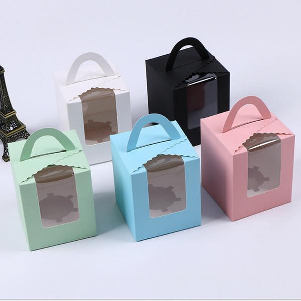 Boîtes à petits gâteaux avec fenêtre avec poignée Macaron boîtes Muffin petites boîtes à gâteaux