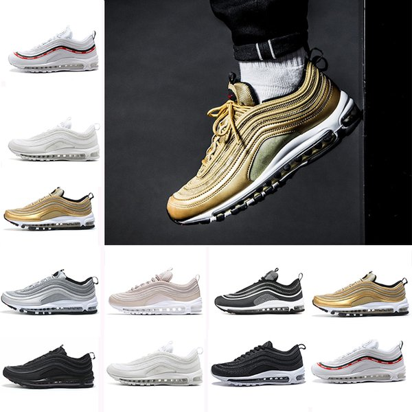 Drop shipping 2018 X 97 Silver Bullet Metallic Gold neon Running Shoes 97 Undefeated sneaker sports shoes size 36-45