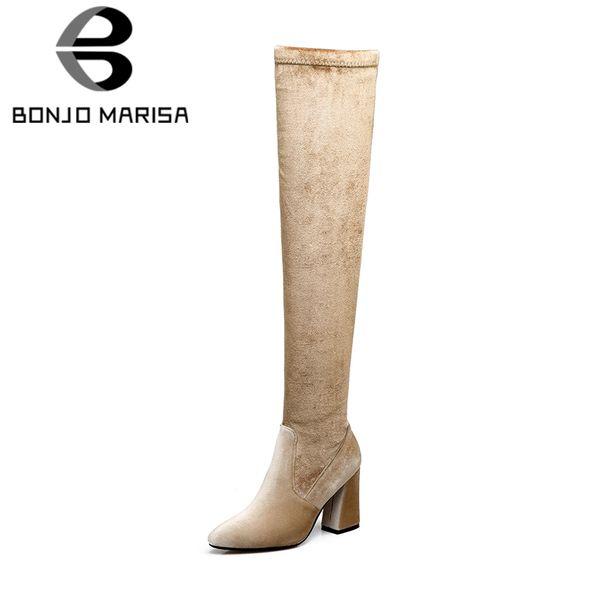 6920e672386 BONJOMARISA 2018 Autumn Plus Size 33-46 Quality Velvet Women Over Knee  Thigh High Boots Women High Heels Shoes Woman