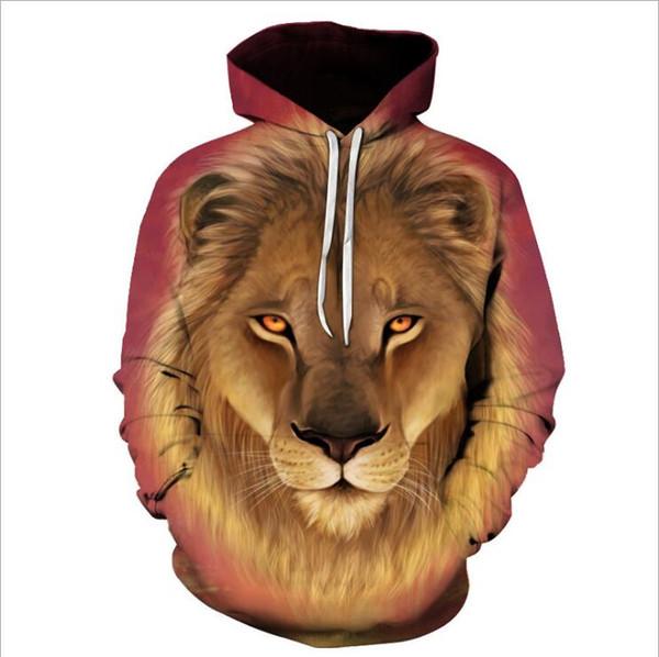 Autumn Winter Fashion Lion Ancient Digital Printing Men/Women Hooded Hoodies Cap Windbreaker Jacket 3d Sweatshirts