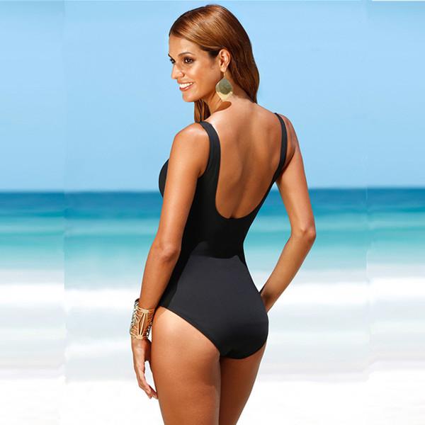 28f58bf3f0 4XL Plus Size Swimwear Solid Bling Gold Swimwear 2018 One Piece Swimsuit  Women Vintage Bathing Suits Monokini Swimsuit