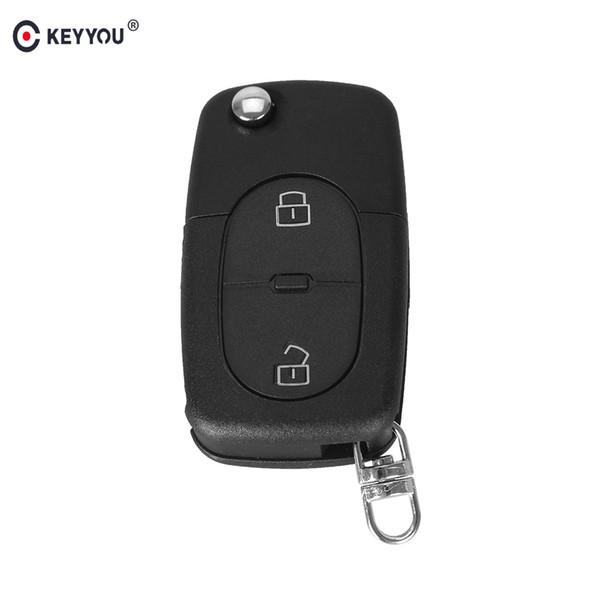 Cheap Car Key KEYYOU 2 BUTTON FOLDING FLIP REMOTE KEY BLNK FOB CSE SHELL PAD FOR FOR AUDI A2 A3 A4 A6 CR2032