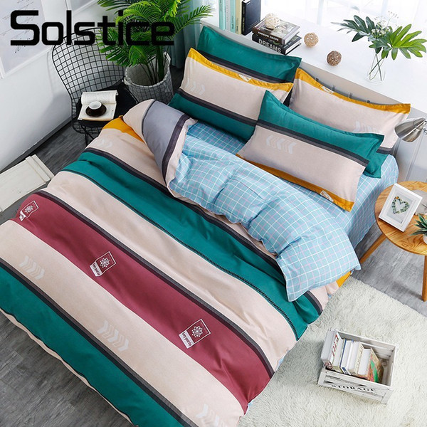 Solstice Textil para el hogar nórdico simple a rayas ropa de cama Rey doble edredón funda de edredón funda de almohada BoyGirl Kid Adult juego de cama