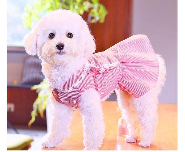 Compre Vestido De Flores Para Mascotas Ropa Para Perros Traje Falda Princesa Perro Pequeño Rosa Azul Vestidos Con Diadema Boda De Verano Cachorro