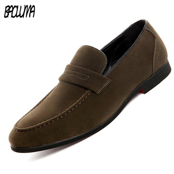 BAOLUMA New Men Loafers Leather Pointed Toe Oxfords Business  Dress Shoes Formal Oxford Shoes For Men Flats Wedding