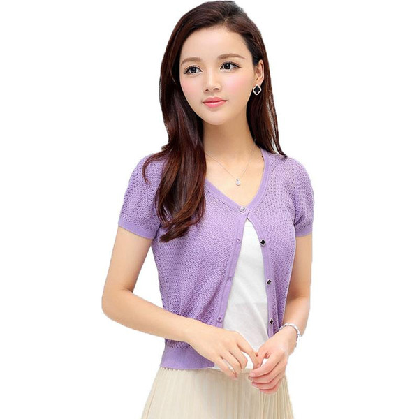 Wholesale- Women Classy Short Sleeve Knitted Bolero Sweater Girls Chic Thin Knitwear Lady Light Purple Black Pink Beige Soft Thin Cardigans