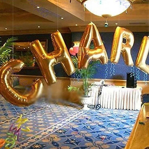 top popular Number Alphabet letter balloons Party supplies foil anuminum 30inch color assorted good quality wholesale free shipping _A 2020