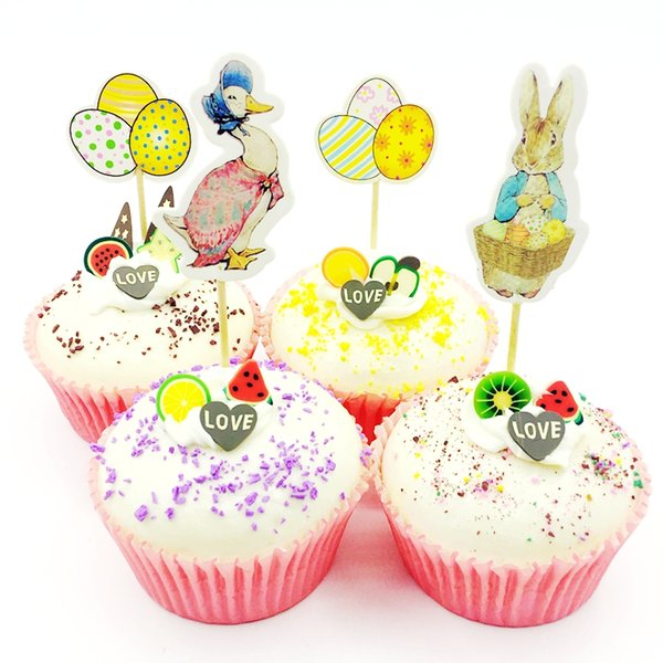 720pcs Bunny Duck Goose Multicolor Eggs Cupcake Topper pick kids birthday Party Supplies Easter Rabbit Favor Cake Decoration