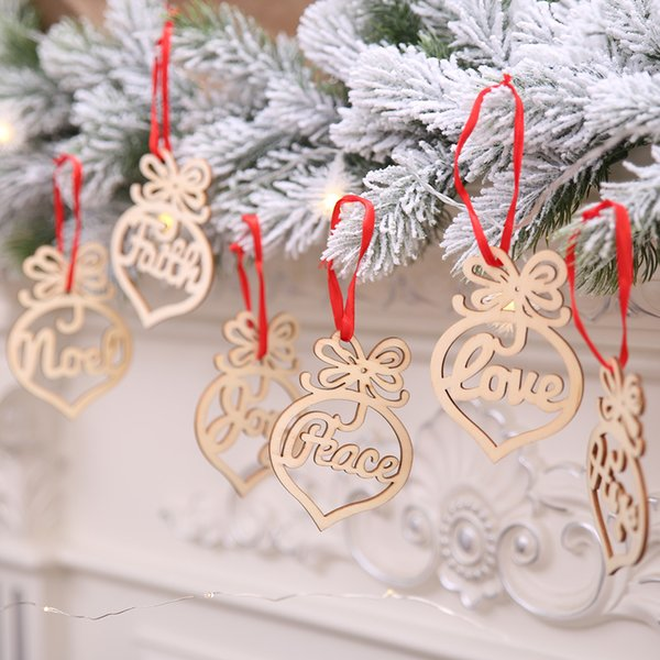 3.8x2.8 inch Christmas letter wood Heart Bubble pattern Ornament Christmas Tree Decorations Home Festival Ornaments Hanging Gift DHL