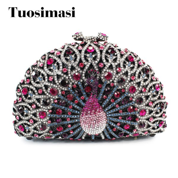 Purple Women Crystal Stones Evening bag Hollow out Cocktail Purse Peacock Diamond Crystal Bags Ladies Small shoulder bags