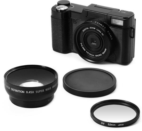 2018 neue 24MP HD Halb-DSLR Professionelle Digitalkameras mit 4x Tele, Fisheye Weitwinkelobjektiv Kamera Makro HD Kamera