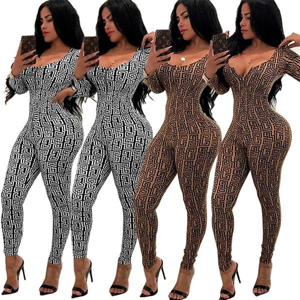 ba1e688ad775 Fashion Women Jumpsuits Two Pieces set back sexy zipper piece pants bodycon jumpsuit  Rompers Catsuits Bodysuits Clothes Ladies Romper 810