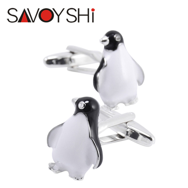 SAVOYSHI Fashion Penguin Cufflinks for Mens Shirt Cuff Accessories High Quality Enamel Crystal Animal Cufflink Brand Men Jewelry