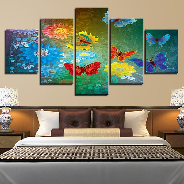 Wall Decor HD Poster Modular Canvas Picture 5 Pieces Red Yellower Blue Butterfly And Flower Modern Prints Framework Painting Art