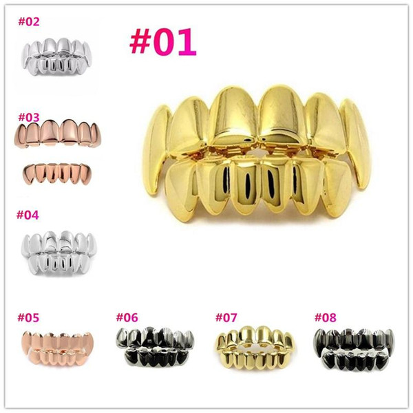 Hip Hop Gold Teeth Grillz Top & Bottom Grills Dental Mouth Punk Teeth Caps Cosplay Party Tooth Rapper Jewelry Gift c618