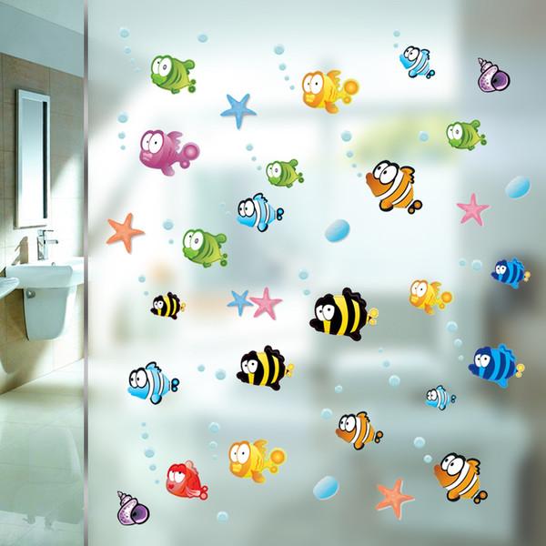 Unterwasser Fisch Starfish Blase Wandaufkleber Für Kinderzimmer Cartoon Kinderzimmer Badezimmer Kinderzimmer Wohnkultur Wandtattoos