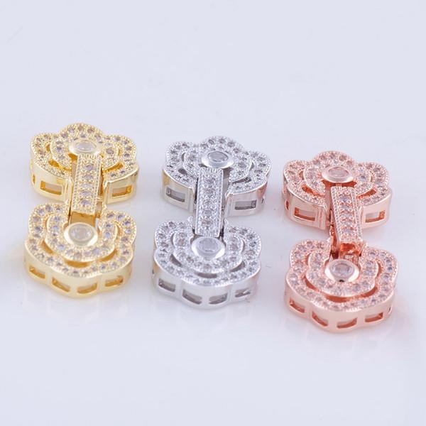 Wholesale DIY Handmade Jewelry Component Findings Copper Rhinestone Flower Hook Clasps Gemstone Pearls Necklace Bracelet Connectors Fittings