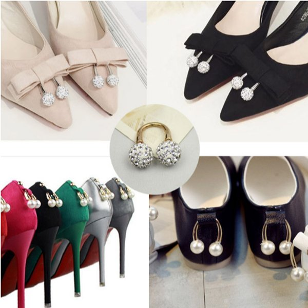 1 Set Pearl Crystal U-shaped Shoes Decoration 2 kinds Elegant Accessorices For Women's High Heel Loafers