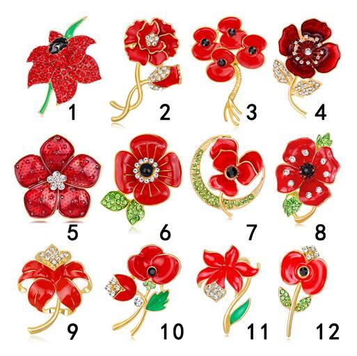 Trendy Wedding Flower Brooches Red Crystal Enamel Poppy Flowers Corsage Lapel Pins For Women Dress Accessory Brooch Jewelry Free Shipping