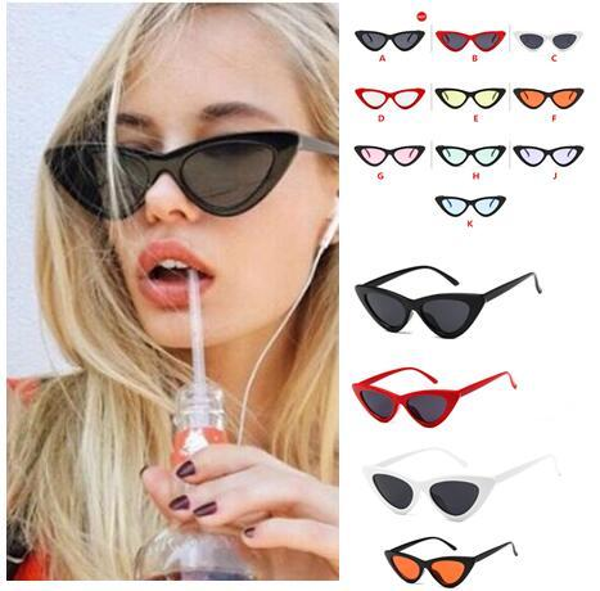 best selling Outdoor Eyewear Retro triangle Cat Eye Sunglasses Fashion Star Same Style Outdoor Sunglasses Women Street equipment 16 Colours # KJ01