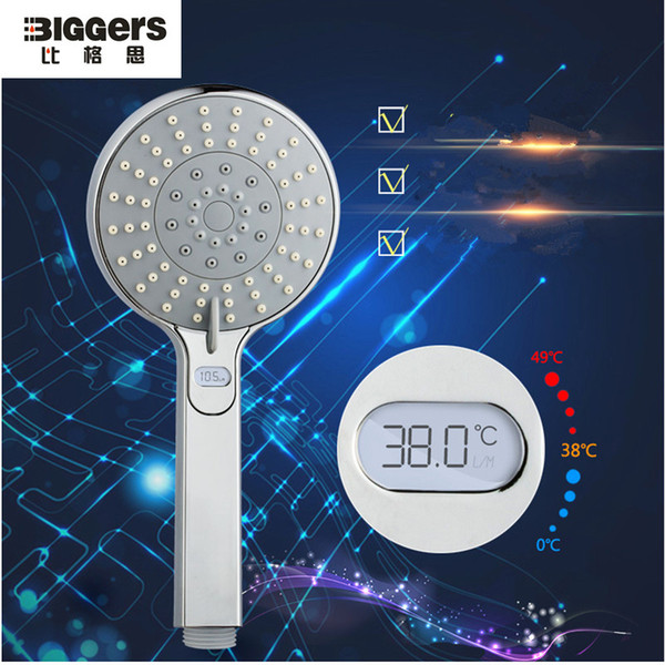 Wholesale-Free shipping Europe quality LED temperature display function handheld chrome finish bathroom shower head nozzle H07015