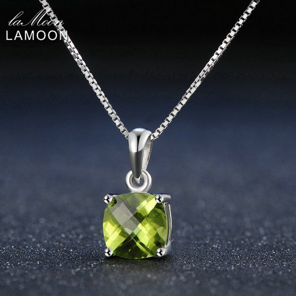 Lamoon 7mm Natural Square Peridot 925 Sterling Silver Simple Pandent Chain Necklace Women Jewelry S925 LMNI037