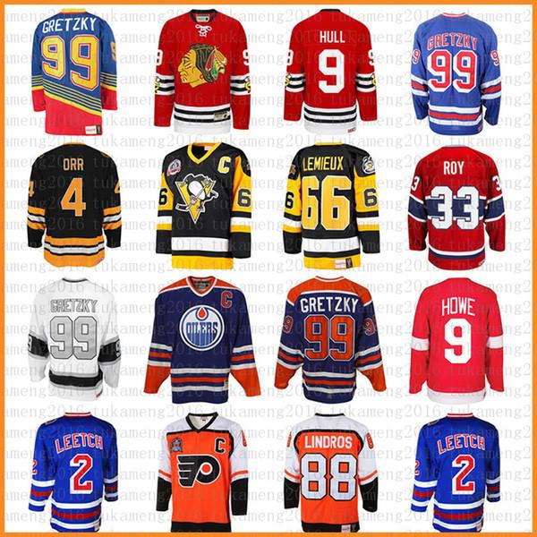 99 Wayne Gretzky 66 Mario Lemieux 9 Bobby Hull Hockey Jersey 9 Gordie Howe 4 Bobby Orr 33 Patrick Roy 88 Eric Lindros Leetch Messier Jerseys