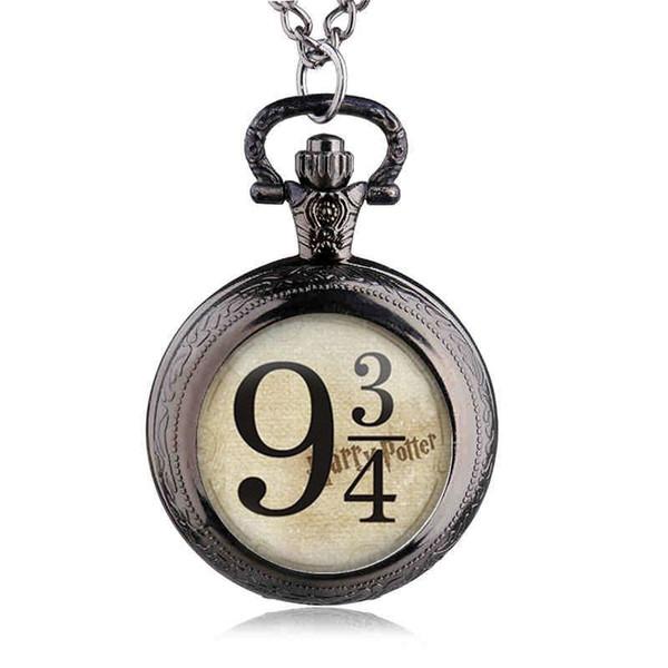 Retro Bronze Movie Watches Hogwarts Theme Quartz Pocket Fob Watches with Necklace Chain for Children Boys Best Gift TPM011